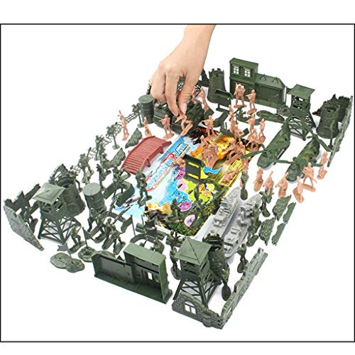 130pcs Children's Military Corps Toy Soldier Set, 1: 36 Schaal Plastic Soldier Model Set, bevat Plane, Oorlogsschi Karakters en Scene accessoires