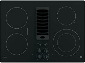 GE PP9830DJBB 30 Inch Smoothtop Electric Cooktop with 4 Burners, 3-Speed Downdraft Exhaust System, 9