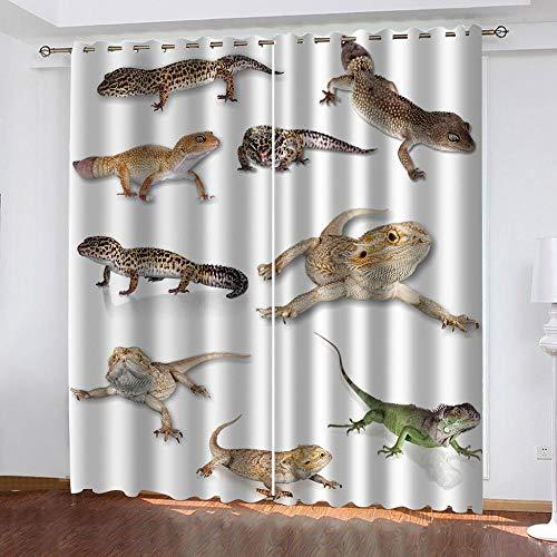 Abeeaceo Cortinas Opacas 3D Lagarto Animal,Sala De Estar Impresión De Dibujos Animados Oficina Niños Dormitorio Tela Cortinas Draps 160 (Ancho) X130 (Alto) Cm -Cortinas De Ojos