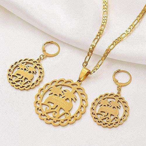 ZPPYMXGZ Co.,ltd Marshall Collares Collares Pendientes Conjunto de Joyas Moda Joyas de Color Dorado Estilo de la Isla Árbol de Coco