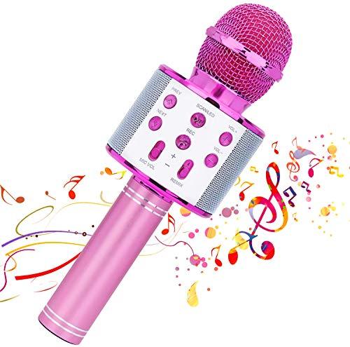 Kabelloses Karaoke-Mikrofon, 4 in 1 tragbares Bluetooth-Handlautsprecher-Karaoke-Gerät, Heim-KTV-Player mit Aufnahmefunktion, kompatibel mit Android- und iOS-Geräten (Pink)