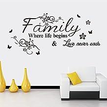 ملصقات جدارية فنية بعبارة Family واقتباسات ابداعية لتزيين المنزل قابلة للازالة