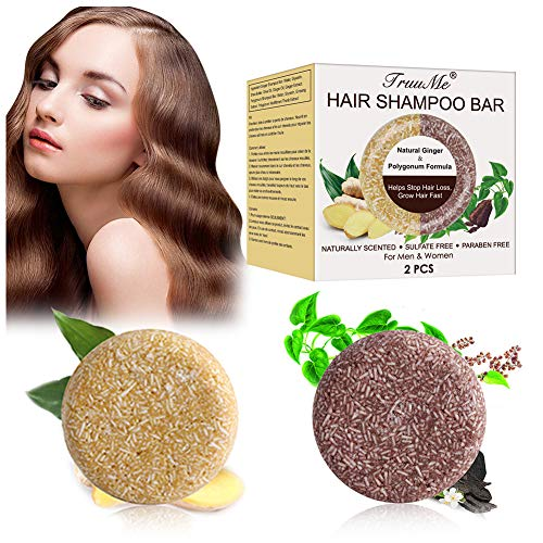 Champú Sólido, Shampoo Bar, Champú Sólido Natural, Ayuda a detener la caída del cabello y promueve el crecimiento saludable del cabello, Para Cabello Seco y Dañado Jabón de Hierbas Natural-2PCS