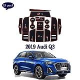 Coche Interior Puerta Seguridad Pad Cup Alfombrillas,para Audi Q3 2019 Alfombrillas de Goma Antideslizante,Anti-Polvo, decoración automotriz con Logo,15 PCS/Set,Rojo