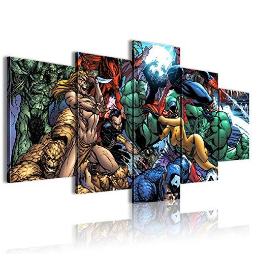 Lienzo decorativo para pared, 5 piezas, diseño de cómics, Marvel Comics de Marvel Comics regalo de casa nueva 200 x 100 cm, enmarcado