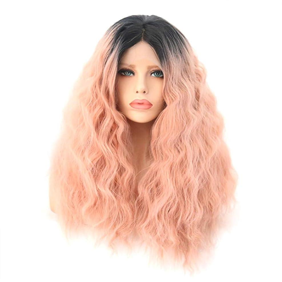 おしゃれじゃない不公平酔ったSummerys 女性のための自然な探している前部レースの合成繊維の毛髪のかつらと長い巻き毛のかつらのかつらの代わりのかつら (Size : 18 inches)