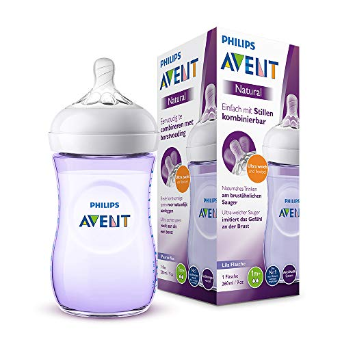 Philips Avent Natural Flasche SCF033/147, 260 ml, naturnahes Trinkverhalten, Anti-Kolik-System,violett, 1er Pack