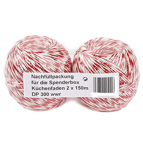 Rotix Lot de 2 pelotes de ficelle de cuisine/charcuterie en coton Rouge/blanc 150 m Recharge pour dérouleur de ficelle Rotix