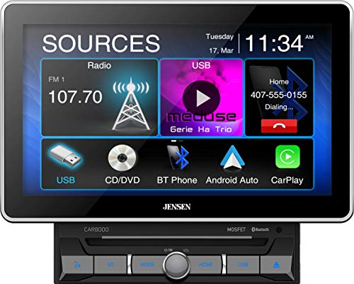 Jensen CAR8000 10.1' Extra Large Touchscreen CD/DVD Multimedia Receiver with Apple CarPlay and Android Auto l MP4 Video Playback l Built-in Bluetooth with A2DP Music Streaming and Phonebook Support