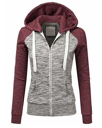 Minetom Damen Kapuzenpullover Zipper Hoodies Frauen Langarm Kapuzenpulli Sweatshirt Pullover Lässig Jacke Tops Grau Rot DE 38