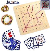 【Giocattoli educativi】Geometria Geoboard Montessori Forma Puzzle Tavola a scuola oa casa, imparando tutti i tipi di diverse forme 2D e trovando le frazioni, è ideale per insegnare forme semplici e concetti più avanzati come simmetria, angoli e frazio...