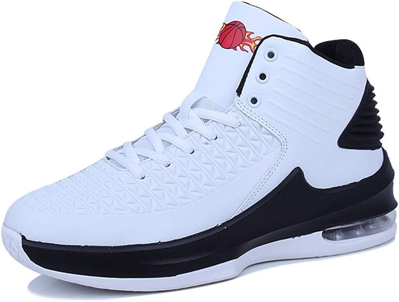 skor Microbiber Sports skor High -top -top -top skor Shock Absorption Cushion Basketball skor mode springaning skor vit svart röd YAN (Färg  vit, Storlek  42)  Kvalitetssäkring