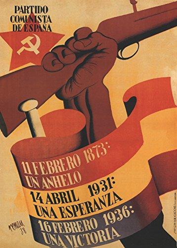 Poster vintage della propaganda della guerra civile spagnola 'Il partito comunista di Spagna', Spagna, 1936-39, riproduzione 200 g/m² A3 Vintage Propaganda Poster