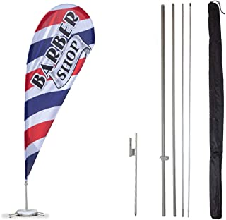 Vispronet - Barbershop Feather Flag Kits - 11ft Flag Complete Pole Set with Ground Stake – Great for Businesses, Storefronts, Sales - Printed in The USA
