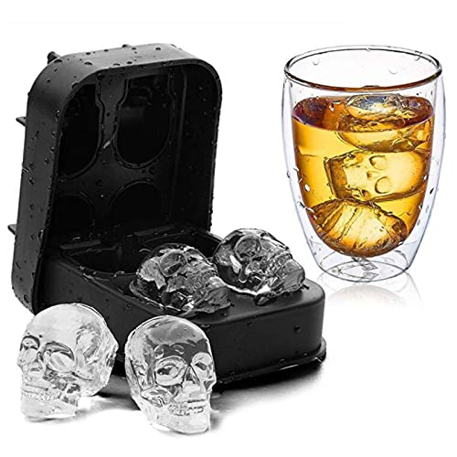 3d Skull Ice Mold Tray, Reusable Silicone Ice Cube Tray, Used for Whiskey, Beverage, Coffee, Roasted and Candy