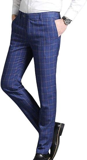 Ouxiuli Pantalones De Vestir Para Hombre Elasticos Rectos A Cuadros Para Negocios Amazon Com Mx Ropa Zapatos Y Accesorios
