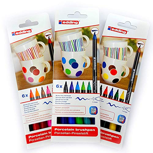 Porzellan-Pinselstift Edding 4200, 3 x 6er-Set, 1-4 mm, Family-, Warm-, Cool-Colour Set