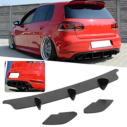HUANGRONG Mattschwarz Heckstoßstange Diffusor mit seitlichen Splitters for Volkswagen Golf 6 GTI 2009 2010 2011 2012 2013