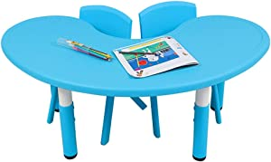 EXCLVEA-TCS Baby Activity Table- Kids Table And Chairs Set Chairs And Activity Table For Children Educational Toddlers Furniture Set Baby Play Table  Color Blue  Size 120x45cm