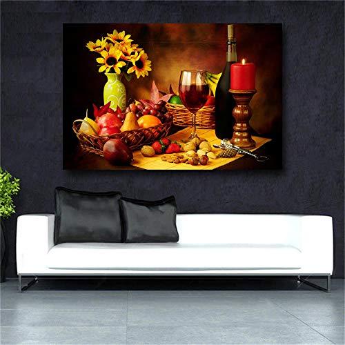 Guihuawang Leinwandbilder - Einteiligfresh Look Farbe Wandkunst Gemälde Rotwein In Becher Nüsse Erdbeer Korkenzieher Gelb Blumen Bilder Drucke Auf Leinwand-Rahmenlos70 * 90Cm