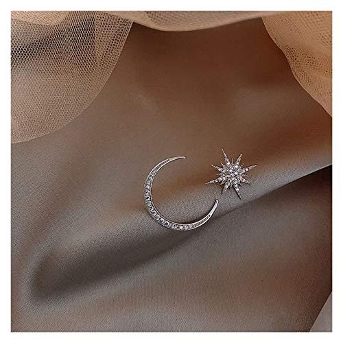 SSN Star Moon Pendientes Versión Asimétrica High Sense Pendientes Pendientes De Moda Prevenir Alergia Exquisita Ear Clavo (Color : Plata)