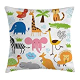 Xukmefat Animal Throw Pillow Cojín, Lindo Conjunto de Jirafa Elefante Cebra Tortuga niños guardería bebé temática de Dibujos Animados c impresión Multi