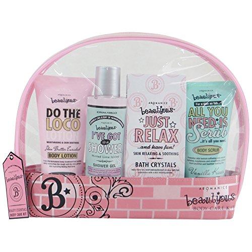 Coffret cadeau pour femme - Trousse de bain ovale Rose Girly - Collection Beautyous - Karité/Vanille/Menthe citronnée