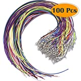 Selizo 100Pcs Necklace Cord String with Clasp Bulk for Jewelry Making and Bracelet, Multicolor