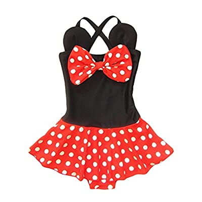 Kid Toddler Baby Girls Bathing Suit Bow Dot One Piece Swimsuit Swimwear, S 2-3t kid girls, Red Black