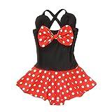 Kid Toddler Baby Girls Bathing Suit Bow Dot One Piece Swimsuit Swimwear, S 2-3t kid girls, Red Black