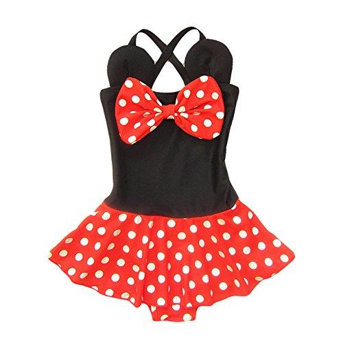 Kid Toddler Baby Girls Bathing Suit Bow Dot One Piece Swimsuit Swimwear, M 3-4t kid girls, Red Black