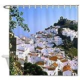YY-one Cortina de baño Village en Málaga España Casas Ciudades Cortina de ducha impermeable con ganchos para decoración de baño 72 pulgadas x 72 pulgadas