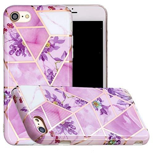 Miagon Geometric Marble Marbre Coque pour iPhone SE 2020,Galvanisé Svelte Doux Souple Silicone Gel Case Bumper Cover Étui Housse pour Filles,Violet Fleur