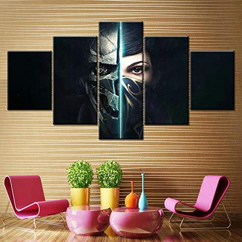IILSZMT Leinwandbild 5 Teile Bilder Wand Wandbilder Kunstdruck Dishonored 2 Game Mask Girl Modern Vlies Leinwand Foto XXL 180Cmx50Cm