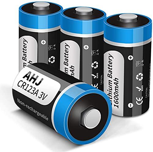 AHJ Lot de 4 Piles CR123A Lithium 3V 1600mAh Stockage de 10 Ans Piles CR17345 Jetables Puissantes [Pas pour Arlo], pour Lampe Torche Appareil numérique Jouets Microphone etc.