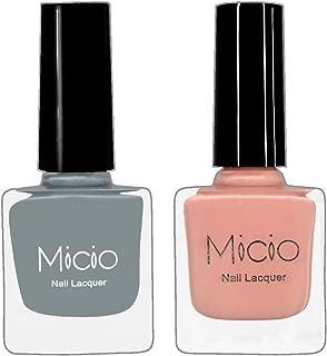 Micio Nail Lacquer Combo of 2 Fancy Colors (Ash Grey & Nude Elegance) Nail Polish (Colors-set 10)