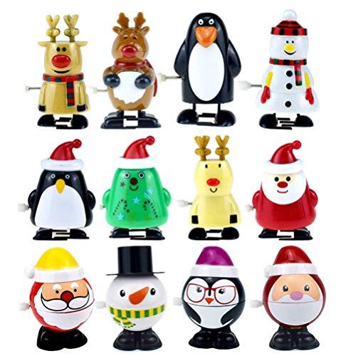Toyvian 12 stücke Weihnachten Wickeln Spielzeug Weihnachtsbaum weihnachtsmann schneemann Rentier elch uhrwerk Spielzeug Figur Partei begünstigt tüte füllstoffe