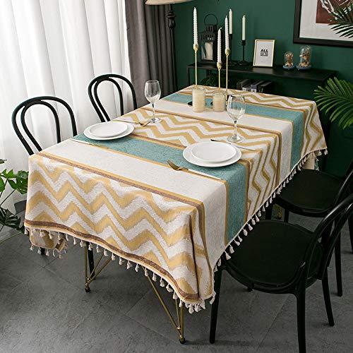 NYSM Mantel De Chenilla Jacquard Rayado Simple Mantel De Mesa De Centro De Tela Mantel Cuadrado Redondo con Agujero Manteles De Plastico con Falda Mantel Individual Amarillo 1.4 * 2m