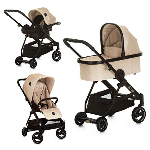 iCOO Acrobat XL Plus Trioset höhenverstellbarer Buggy bis 25 kg mit Liegefunktion und Fußsack + Babywanne + Babyschale ab Geburt, mit einer Hand klein klappbar, leicht, Reflektoren – Beige