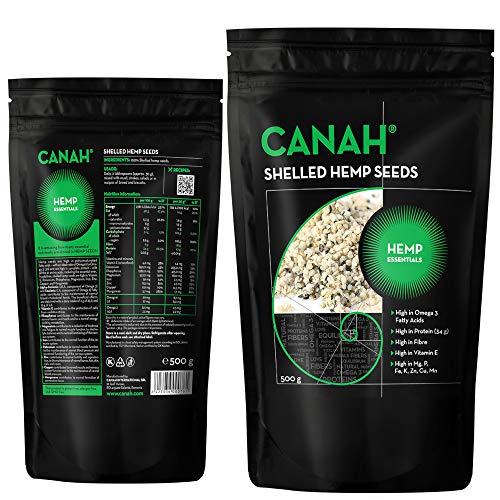 Cœurs de graines de chanvre décortiquées par Canah 500g - Riche en protéines, fibres, oméga 3, acides aminés et minéraux - Snack végétalien sain Source d'oméga 6