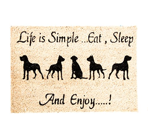 Fußmatte Türmatte Kokosmatte HUND Wachhund WauWau Außenbereich Außenmatte- 60 x 40 cm - (7)