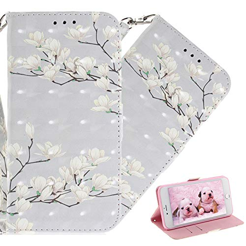 COTDINFORCA Nokia 6.1 Case Wallet, Nokia 6 2018 Premium PU Leather Case 3D Creative Painted Design Full-Body Protective Cover for Nokia 6.1 (2018). PU- White Flower Pattern