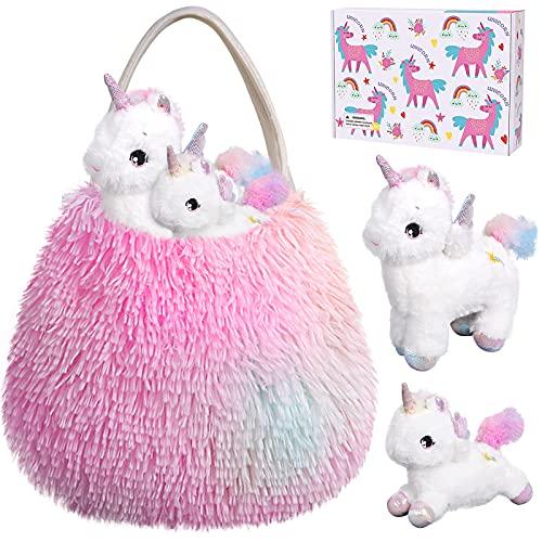 Tacobear Unicornio Peluche con Peluche Unicornio Bolso de Felpa Bebé y Mamá Juego de Roles Unicornio Juguete Regalo Navidad Cumpleaños Unicornio para Niñas 3 4 5 6 7 Años