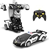 DEERC Transform RC Car Robot for Kids, Deformation Police Car Toy, Transforming Robot Remote Control Car with One Button Transformation, LED Light,360°Drifting,1:18 Scale, Toy for Boys and Girls