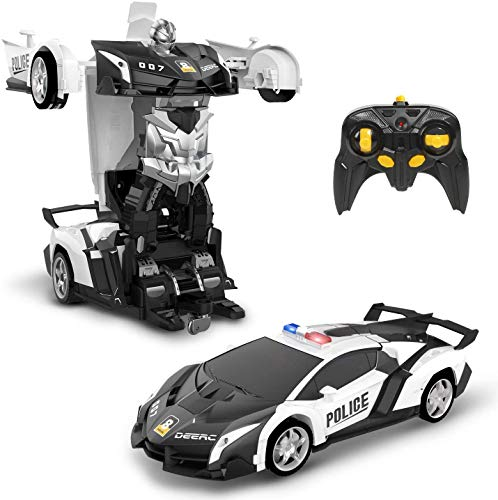 DEERC Transform RC Car Robot for Kids, Deformation Police Car Toy, Transforming Robot Remote Control...