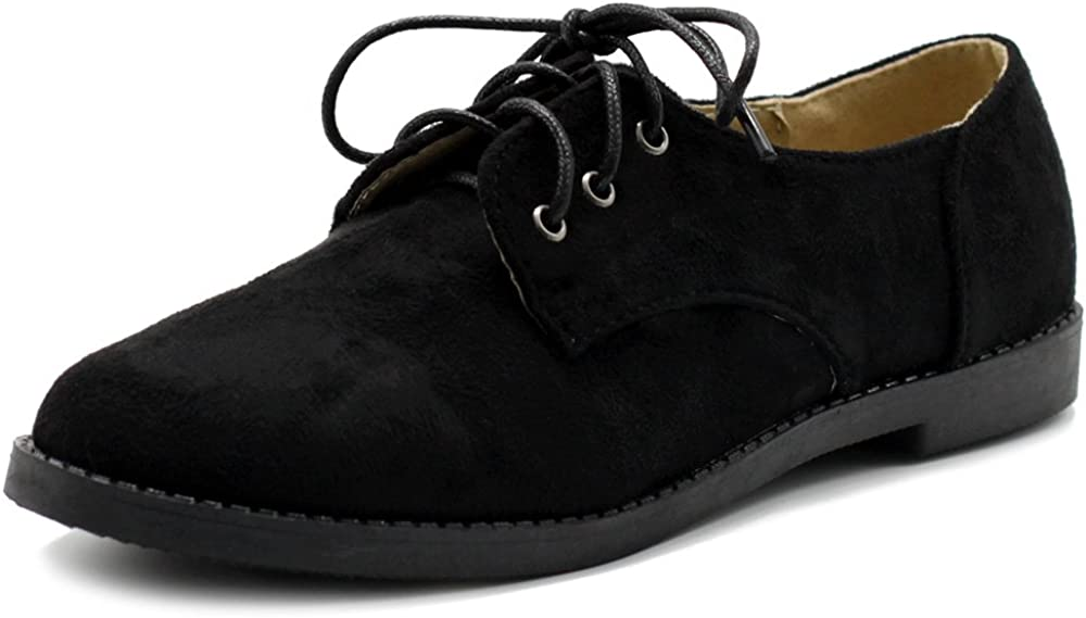 Ollio Women Classic Flat unisex Outstanding Shoe Oxford Lace Faux Suede Up