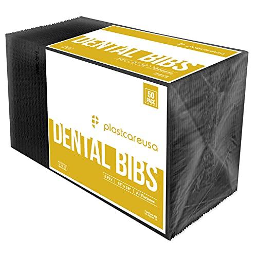 50 Black Disposable Dental Bibs 13 x 18 Tattoo Piercing Waterproof Patient Bib