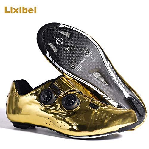 Lixibei Zapatillas de Ciclismo de Carretera para Adultos, Profesional Zapatillas de Spinning Zapatillas Antideslizantes Transpirables para Carretera, con Suela de Carbono y Tira de Velcro,43