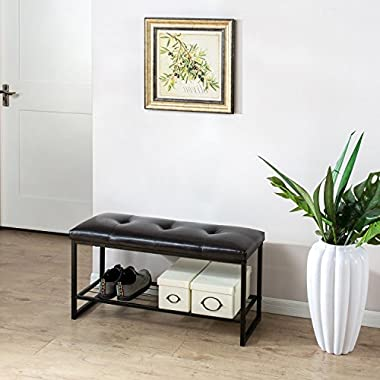Zinus Faux Leather Tufted/Hallway / Entry/Bed / 36 Inch Bench with Storage Shelf