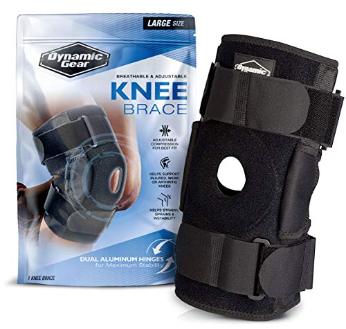 Dynamic Gear Open Patella Stabilizing Knee Brace Dual Aluminum Stability Hinges Padded Neoprene Adjustable Compression Support Brace for Meniscus Tear ACL Strains Knee Pain Arthritis Large